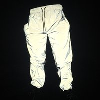 pantalon de danse masculin achat en gros de-Pantalons réfléchissants pour hommes joggers Free Drop shipper hommes hip hop femmes danse danse veilleuse brillante pantalon