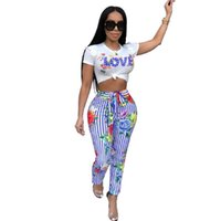 Wholesale striped yoga pants for sale - Women Two Piece Set Summer Tracksuit Women Sexy Love Striped Print Outfits Two Piece Set Top And Pants Female