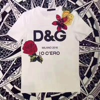 Wholesale Women T Shirts Beads - Summer New Fashion Simple Embroidery Handmade Beads Printed Rose Round Neck Cotton Short-sleeved Women's Casual T-shirt