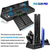 playstation cooling al por mayor-Ventilador de ventilador vertical PS4 Pro Slim con estación de carga de controlador dual y 3 puertos HUB adicionales para Sony Playstation 4 PS4