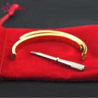 Wholesale chains for couples - 316L Titanium Steel Luxury Brand Screwdriver Bracelets for Women and Men Couple Bracelets with Original Bag Love Bangles