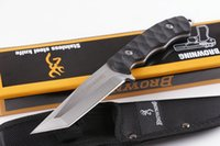 Wholesale hot browning knife - Hot Browning Elite Fixed Blade Knife T Blade ABS Handle 5Cr15Mov Outdoor Camping Hunting Survival Pocket EDC Tools Nylon Sheath Collection