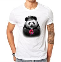 Wholesale panda tee shirts - 100% Cotton Donuts Panda Design Men T-shirt Lovely Animal Design Printed Male Cool Tops Short Sleeve Casual Tee T Shirts
