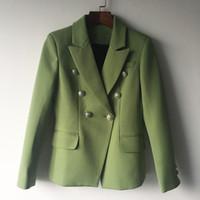 casaco duplo para mulheres venda por atacado-ALTA QUALIDADE Nova Moda 2017 Designer de Blazer Mulheres Jaqueta de Metal Leão Botões Double Breasted Blazer Outer Casaco Verde