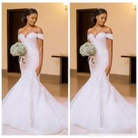 ingrosso bel vestito sottile-African Black Women 2019 Mermaid Abiti da sposa Abiti da sposa spalle spalline Appliques Slim belle signore Vestidos De Mariee