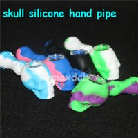 Wholesale tabacoo pipes for sale - Group buy skull Silicone Rig tabacoo hand pipes silicone smoking pipe Hand Spoon Pipe heat Hookah Bongs silicon oil dab rig with glass bowl