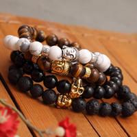 Wholesale lucky charm bracelet for women - Fashion Men's Bracelet Gold Color Silver Color Buddha skull Elastic Black Beaded Tibet Charm Lucky bracelets for women