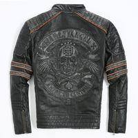 Wholesale vintage mandarin jacket resale online - Men Retro Vintage Leather Biker Jacket Embroidery Skull Pattern Black Slim Fit Men Winter Motorcycle Coat