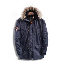 черный мех с капюшоном длинный parka оптовых-ABOORUN 2017 Новая зимняя мужская куртка и пальто средней длины из искусственного меха с капюшоном Parka Blue Black Warm Coats W4062