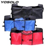 armazenamento de tapetes venda por atacado-Atacado YOSOLO Car Trunk Storage Bag Estiva Arrumando Tidying Auto Universal Back Seat Organizador Car-styling 3 Compartimentos Carpet Folding Box