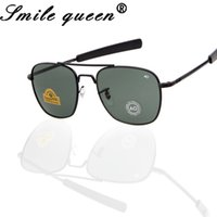 marcas de óculos militares venda por atacado-2016 Mais Novo MILITAR AO Marca Óculos De Sol Dos Homens Lente De Vidro Óptico De Metal Liga Quadro Piloto Óculos De Sol Oculos De Sol Masculino