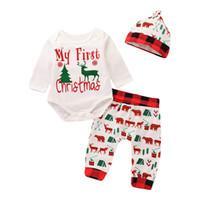 neugeborene erste kleidung großhandel-Neugeborenes Baby-Weihnachtsausstattungen stellt Säuglingskinder ein Meine ersten Weihnachtsbuchstaben druckten Spielanzug + Hosen + Kappe 3pcs Suits Kinderkleidung