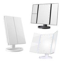ingrosso compongono lo specchio dello specchio-Make Up LED specchio cosmetico pieghevole Specchio con stand schermo Base 180 gradi di rotazione di tocco dello specchio di trucco