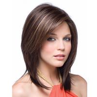 perucas bonitas da parte dianteira do laço venda por atacado-14 polegadas Moda Feminina Natural Curto Cheia Dianteira Do Laço Perucas Bonito Bobo Cabelo Humano Peruca Cosplay peruca de cabelo Sintético (cor: marrom Escuro)