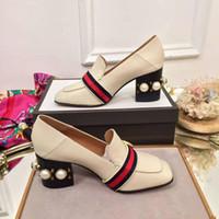 tıknaz pompalar toptan satış-Retro Koyun Derisi Tembel Loafer Ayakkabı Kadın Kare Ayak Inci Perçin Tıknaz Topuk Pompalar Kadın Moda Yüksek Topuk Ayakkabı Elbise Düğün Ayakkabı Terlik