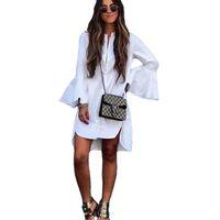 şık giyim kadınlar toptan satış-Yeni Kadın Beyaz Flare Kol Gömlek Elbise Yaz Moda O Boyun Düz Zarif Kadın Bloues Casual Giyim Tops