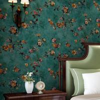 chinesischer wassertasche großhandel-Grüne Pastorale florale Vliestapete 3D geprägte Wohnzimmer Sofa Schlafzimmer TV Hintergrund Wand Dekor Wandbild Tapete Blume