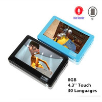 Wholesale mp4 player av - HD Touch MP4 Player 8gb Build-in Speaker 4.3 Inch Screen MP4 Player Support Av Out Recorder 30 Languages MP5 Music Player