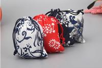 sac traditionnel chinois achat en gros de-Sacs de cadeau en coton Motif chinois traditionnel 9X12cm Ficelle Bijoux Sacs