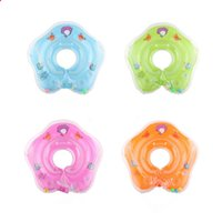 Wholesale neck float wholesale - New dolphin Infant Neck Float Circle for Bathing Swimming cartoon PVC Inflatable 39cm 15 inches baby Safety Neck circle Dual airbags B11