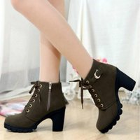 Wholesale thick punk boots - SZSGCN-High quality woman boots fashion thick heel motorcycle female black Martin boots shoes zapatos mujer ankle platform punk