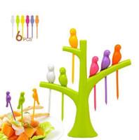 meyve çatalları seti toptan satış-Şube şekli ile 1 Takım yaratıcı kuş meyve çatal set mutfak oluşturma meyve forks kek tatlı forks güzel ev dekorasyon ücretsiz gemi
