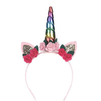 Wholesale baby girl birthday hair bands for sale - Group buy New Creative Infant Flower Toddler Bow Headband Girls Party Accessories Unicorn Headwear Birthday Party Baby Hoop Hair Band Hot Sale xm a