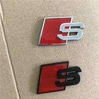 Wholesale audi tt door - Metal S Logo Sline Emblem Badge Car Sticker Red Black Front Rear Boot Door Side Fit For Audi Quattro VW TT SQ5 S6 S7 A4 Accessories