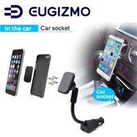 soporte para coche iphone usb al por mayor-EUGIZMO Soporte de coche magnético Cargador de teléfono USB Soporte de soporte de cuna para iPhone X 8 7 6 5 S Plus Samsung Galaxy etc Smartphones