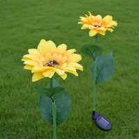 ingrosso buon giardinaggio-LED Solar Energy Light Sunflower Shape Design Giardino creativo Decor Lampada da giardino Lampade da cantiere Lampade da giardino Buona qualità 17wn ii