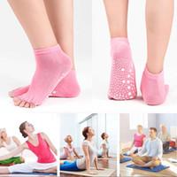 ingrosso i bambini puntano i calzini-Presa mezza a vita bassa da donna antiscivolo per balletto Yoga Pilates Barre Toe Socks Girl Fashion Sport calze bambini calzini