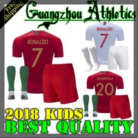 Wholesale national children - Portugal soccer Jersey 2018 World Cup home Portugal kids Jerseys 18 19 away Silva ronaldo nani national team child football jersey shirts