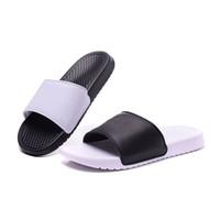 Wholesale slippers for summer - 2018 New Benassi JDI Solarsoft Mismatch DUO Ultra Slid Sandals Slippers Flip Flops Mens Designer Shoes for Men Sandal Women Casual Sliper