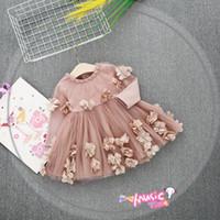 Wholesale elegant dance - New Girl Dress Round Collar Long Sleeve Stereo Flowers Dance Dress Girl Elegant Party Dress Girl Clothing free ship 2 colors