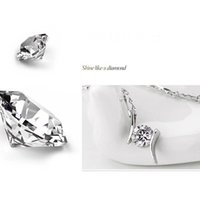 Wholesale beautiful diamond pendants for sale - Group buy Imitation sterling silver necklace Copper beautiful diamond necklace CZ Zircon necklaces