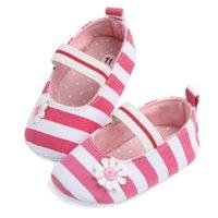 детские эластичные туфли оптовых-Cute Lovely Newborn to 18M Infants Baby Girls Soft First Walker Shoes Striped Flower Moccasin Prewalker Elastic Band Soft Shoes