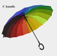 Wholesale rainbow cars - C Hook Rainbow Umbrella Long Handle 16K Straight Windproof Colorful Pongee Umbrella Unisex Sunny Rainy Umbrella CCA9816 10pcs