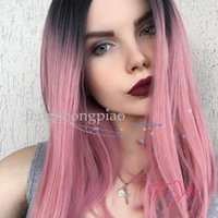 Wholesale straight pink cosplay wig online - New Cosplay Wig Ombre Pink Color Short Straight Wig Sexy Fiber Hair Heat Resistant Gluelese Synthetic None Lace Wigs for Black Women
