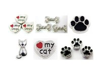 Wholesale Dog Bone Accessories - Multiple Choise 20PCS lot Dog Paw Bone Cat Floating Locket Charms DIY Accessories Fit For Glass Memory Magnetic Locket Holiday Gift