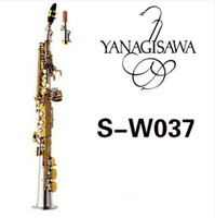 doblar la placa al por mayor-YANAGISAWA W037 Saxofón soprano Latón Plateado Tubo de oro Llave del saxofón con boquilla Cañas Cuello doblado Envío gratis
