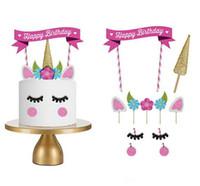 enveloppes violet foncé achat en gros de-Licorne gâteau Toppers Unicornio corne oreilles décorations de gâteau Cupcake Toppers bébé anniversaire Party décorations outils de cuisson