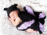 Wholesale butterfly knitted hat resale online - newborn crochet girls butterfly costumes photo prop wool knit newborn lovely photograph beanies cloak handmade infant outfit