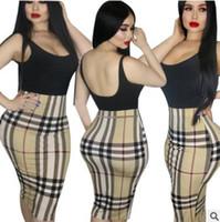 Wholesale hip nightclub - 2018 summer womens dress Fake two-piece check dress Sleeveless backless bag hip skirt Daily casual sexy nightclub clothing