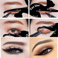 kedi göz araçları toptan satış-Kadın Kedi Hattı Eyeliner Stencils Pro Göz Makyaj Aracı Göz Şablonu Şekillendirici Modeli makyajı kolay Kozmetik c275