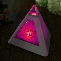 componente eletrônico venda por atacado-Charminer 7 LED Pirâmide Mudança de Cor Relógio Digital Com Alarme de Data Alarme de Temperatura ABS + Componente Eletrônico