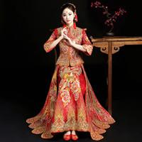 ingrosso bling abiti da sposa-Abiti da sposa cinesi abito da sposa Lady antica Bling Qipao Phoenix ricamo a mano strass Cheongsam Tang Suit Abbigliamento