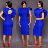 königliche blaue teelänge kleider großhandel-2018 Neue Tee Länge Royal Blue Cocktailkleider Flügelärmeln Partykleid High Neck Einzigartiges Design Kurze Abschlussball-Kleider