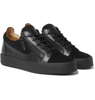 Wholesale thick soled shoes for women - 2018Fashion wild Italy brand Black suede leather low top sneakers For Men Women Casual flat Thick soles non-slip shoes Double zipper