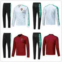 Wholesale set jacket - 2018 World Cup Portugal Football Jacket Long Soccer Training Suit Kit Tracksuit Sportswear Chandal Set Custom Any Name Number Red White