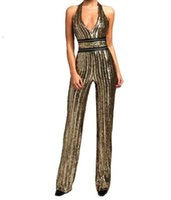 Wholesale Tight Party Jumpsuits - Fashion Women Clothing V -neck Sequined Jumpsuit 2018 High Quality Gold Spangle Your Waist Tights Rompers Club Party Sexy Jumpsuit